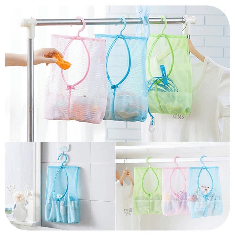 Hanging Mesh Bag Multipurpose Clothespin Bag with Hanger