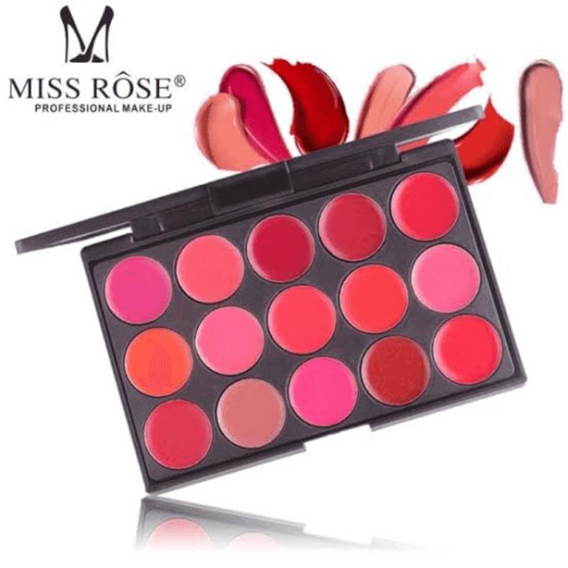 Miss Rose Matte 15 Color Lip Cream Palette