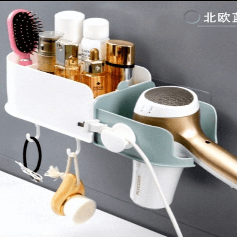 wall-mounted-adhesive-hair-dryer-plastic-bathroom-shelf-rack
