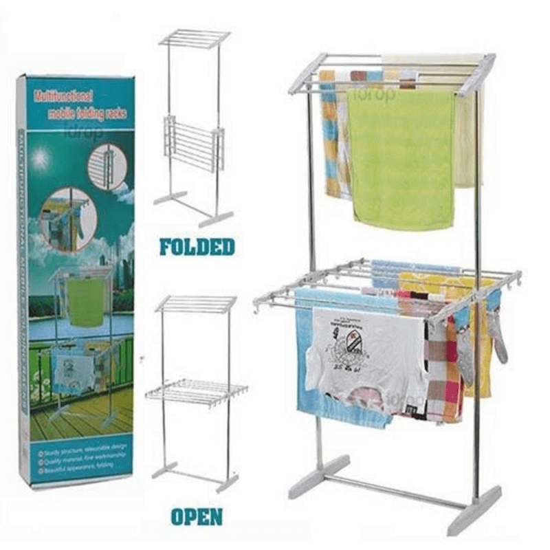 Multifunctional Mobile Folding Cloth Dryer Rack stand