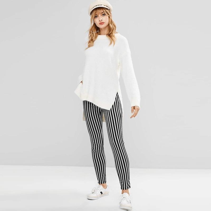 women-trousers-black-white-broad-striped-leggings