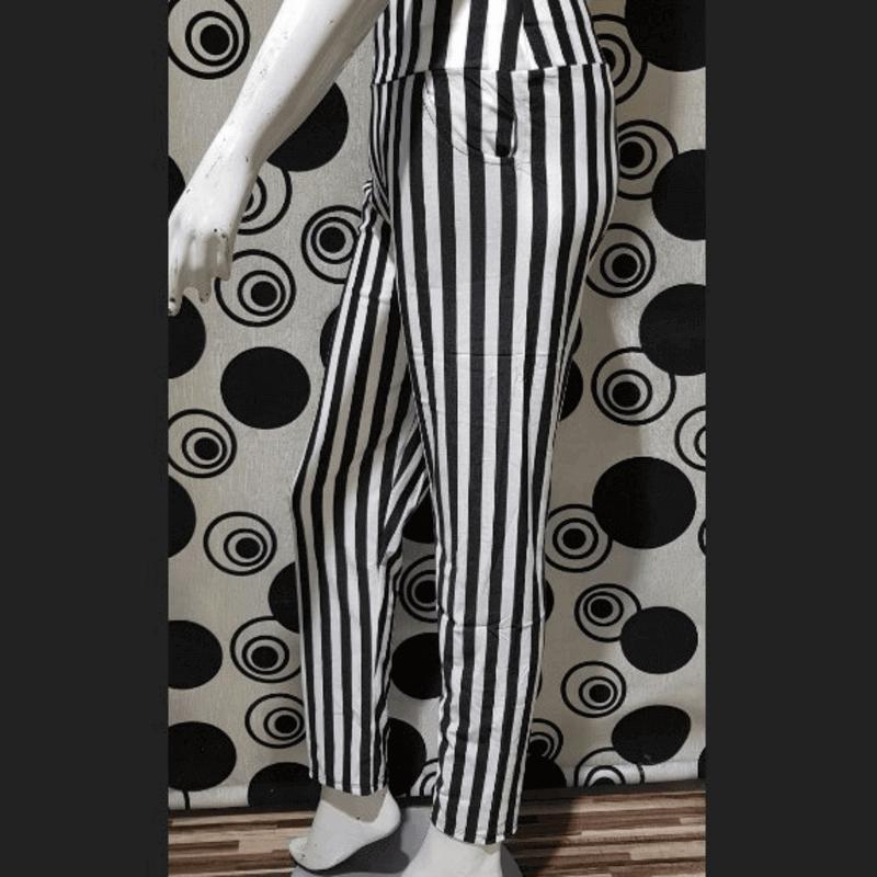 Women Trousers Black & White Broad Striped Leggings