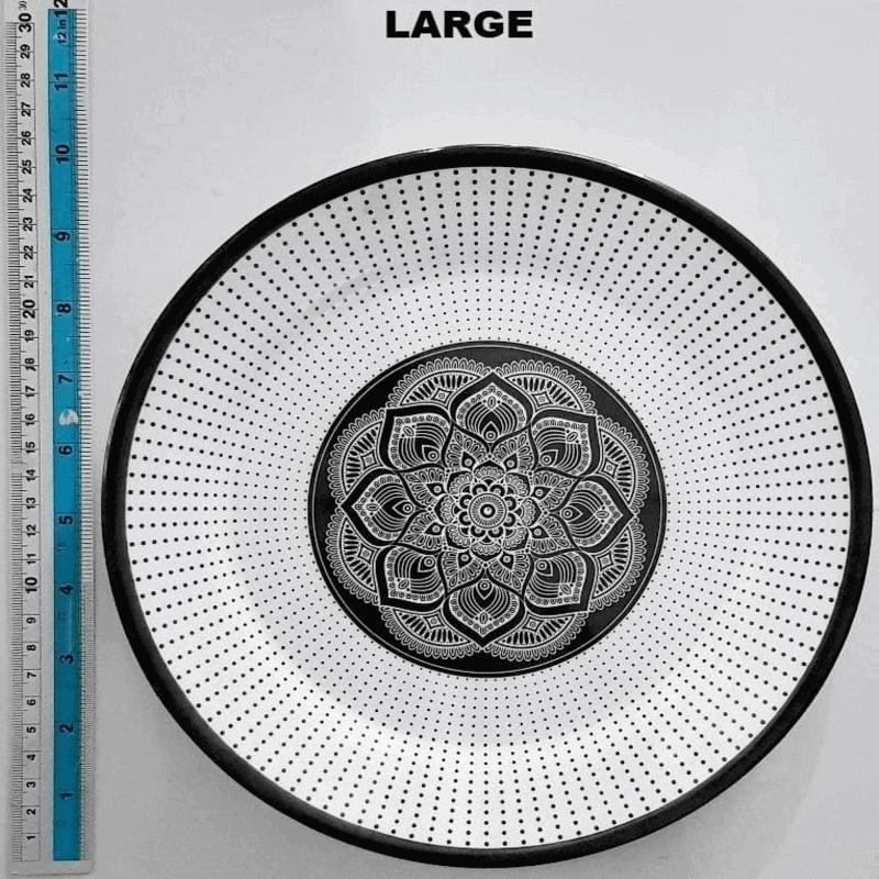 Set Of 3 Printed Dinner Plates Double Glazed Melamine