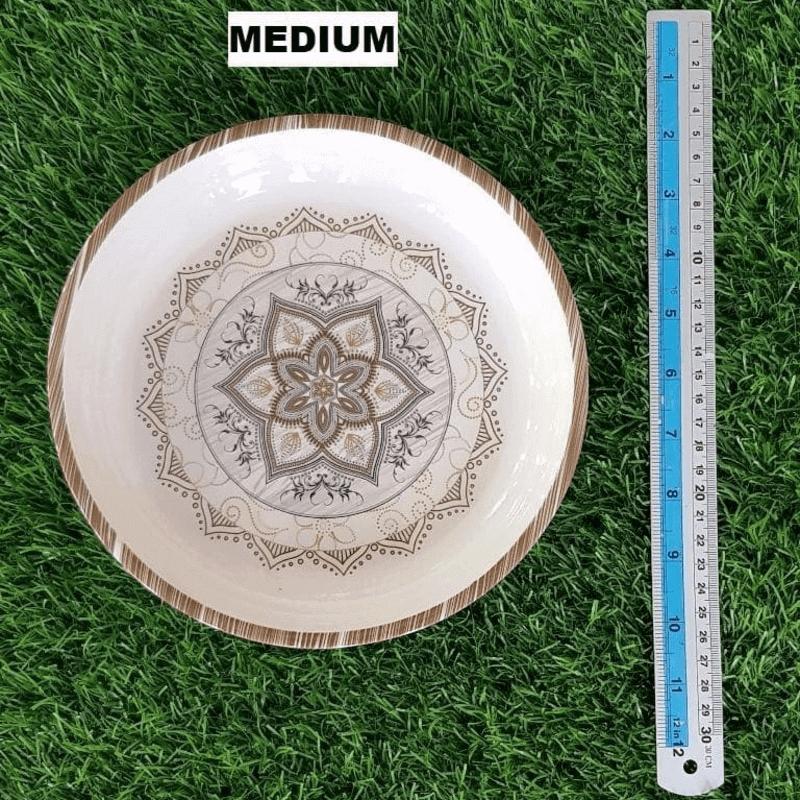 Set of 3 Double Glazed Melamine Printed Dinner Plates