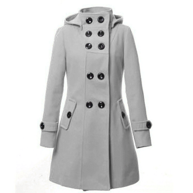 Women's Hooded Double Breasted Trench Wool Coat