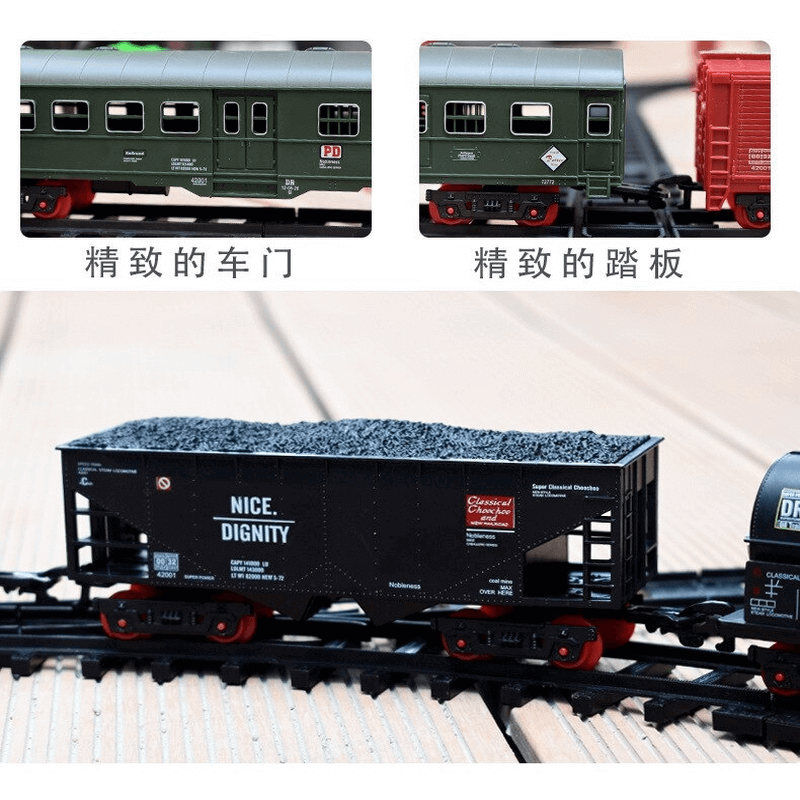 Electric Operated Railway Classic Freight Locomotive Train Toy