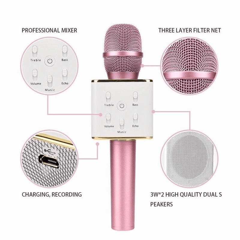 Q7 Wireless Microphone Karaoke Bluetooth Mic & Speakers