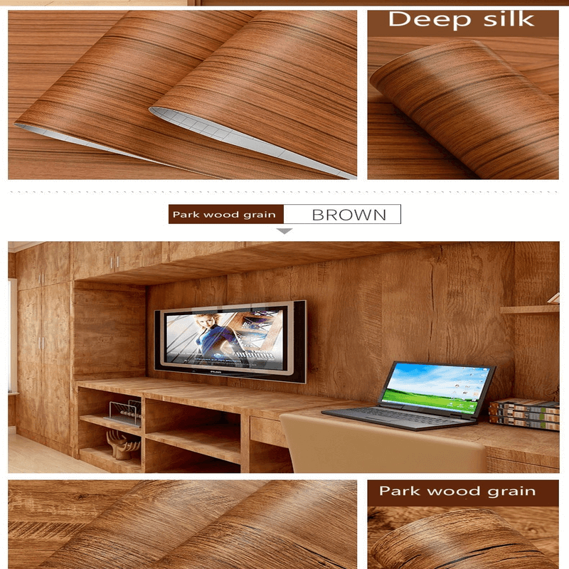 Waterproof Deep Wood Vinyl Wallpaper Roll