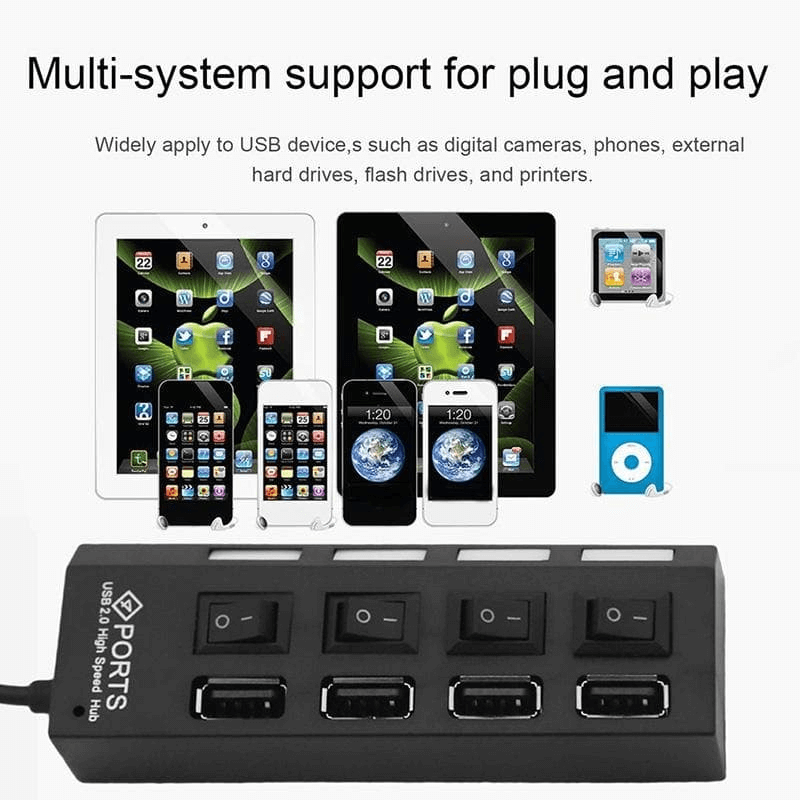 4 Port USB 2.0 Multi Expansion Hub With Switch