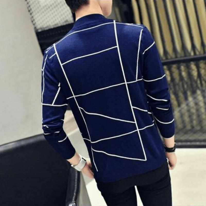 Fashion Men Casual Plaid Single Trench Coat