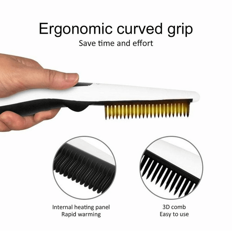 Multifunctional Hair Comb Beard Straightener Curler