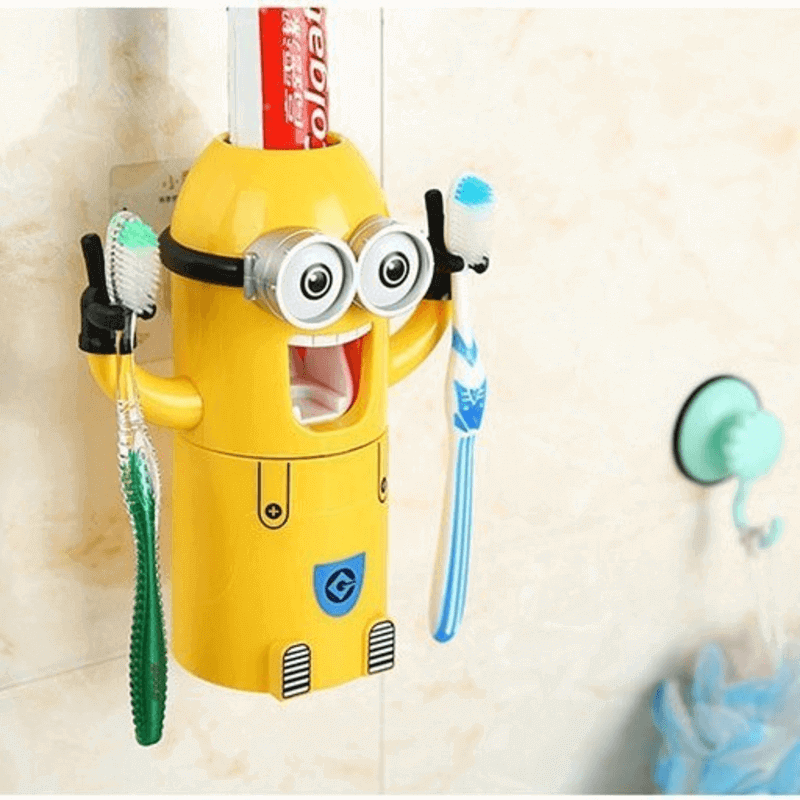 Minion Toothpaste Dispenser with 2 Brush Holder