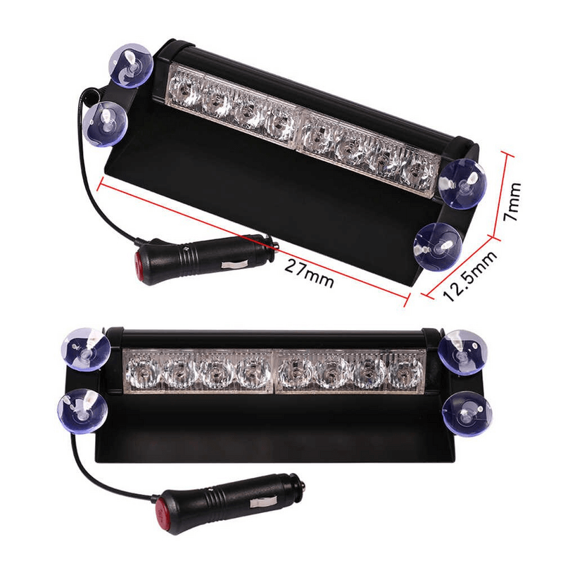 8 LED Red Blue Police Flash Light For Dashboard