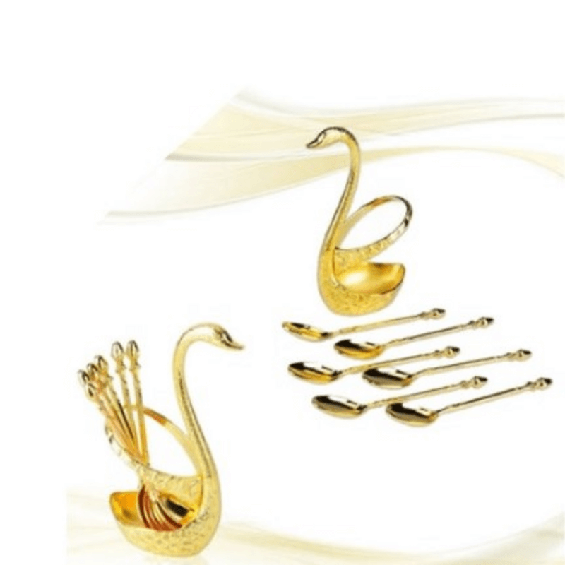 artistically-crafted-gold-swan-table-spoon-set