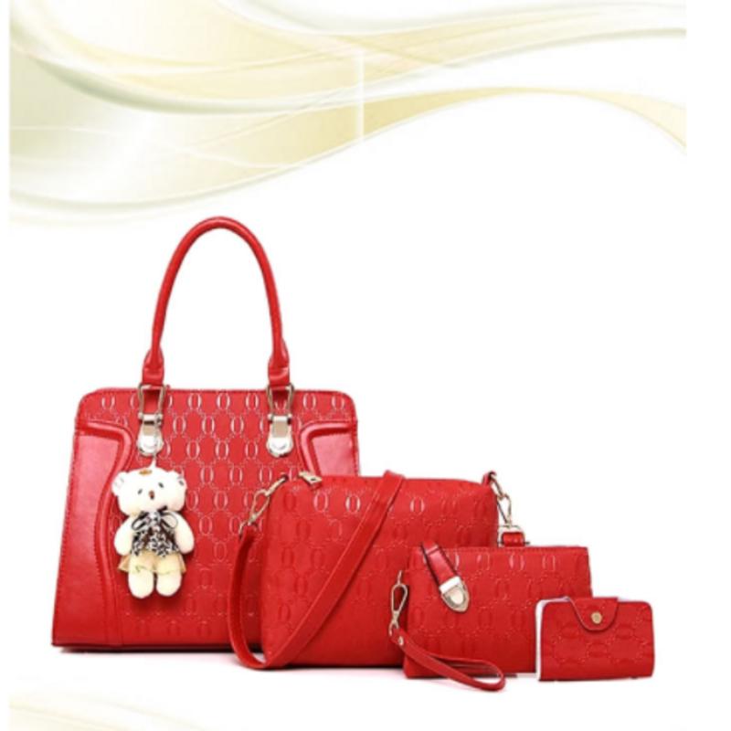 bright-red-leather-had-bag-4pcs-set