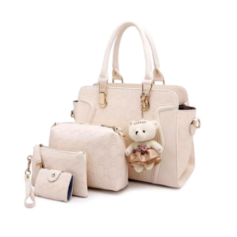 cream-white-leather-hand-bag-4pcs-set