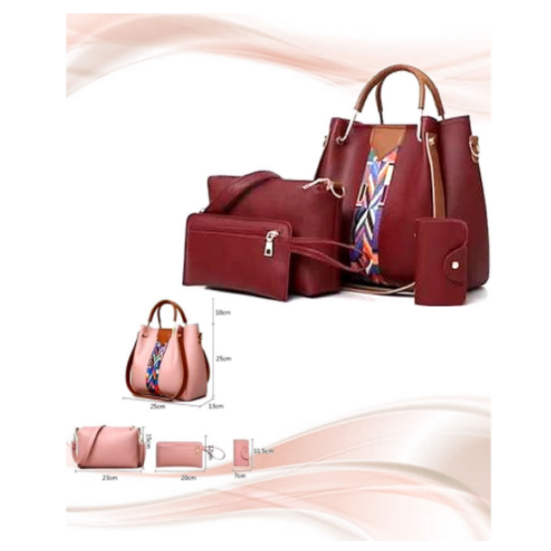 luxurious-maroon-leather-hand-bags-4-pcs-set