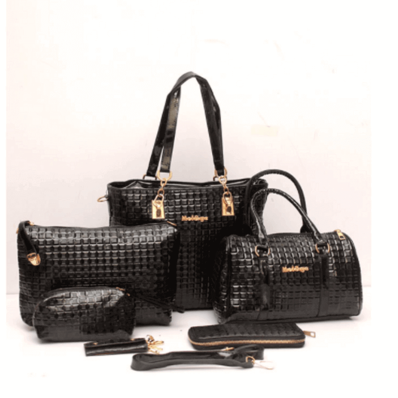groovy-black-leather-6pcs-handbag-set-a4274