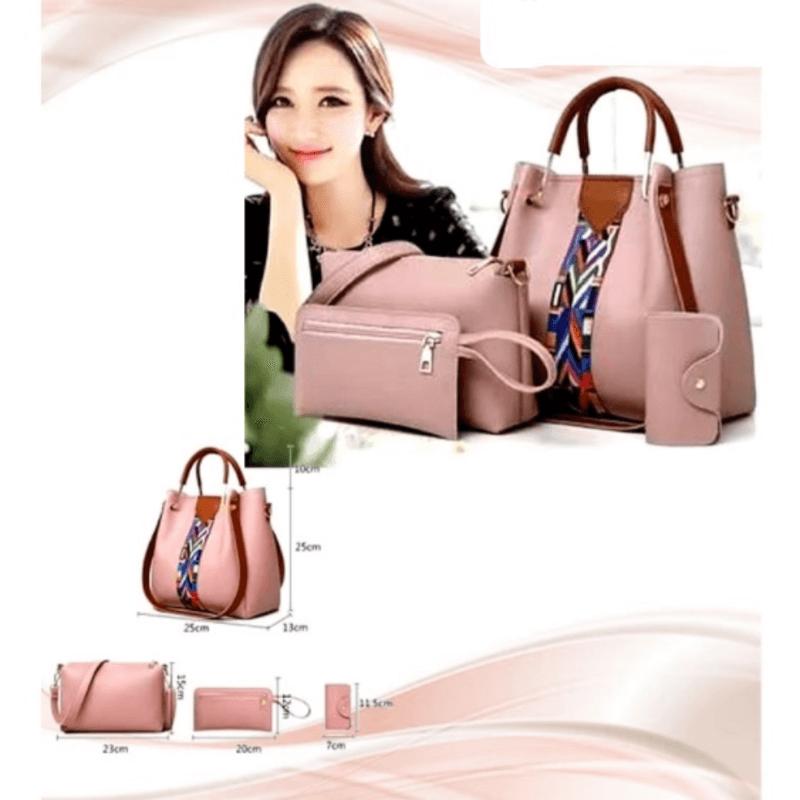 stylish-pink-leather-hadbag-4pcs-set-a5610