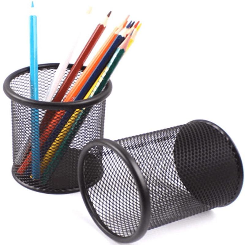 2pc-black-metal-stand-mesh-style-pen-holder