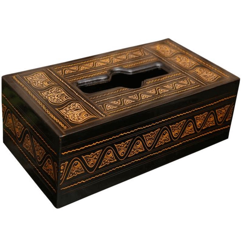 tissue-box-golden-laquer-work