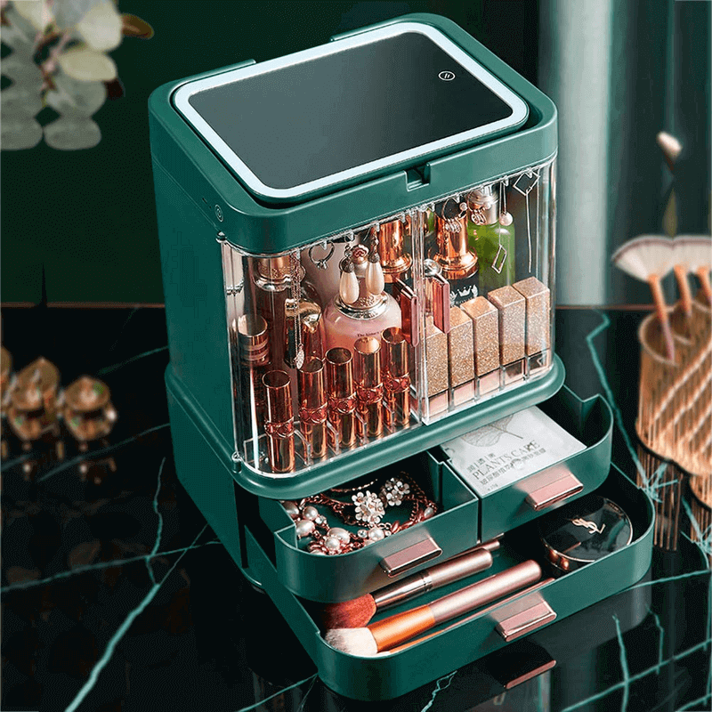 drawer-type-cosmetic--organizer-with-led-mirror