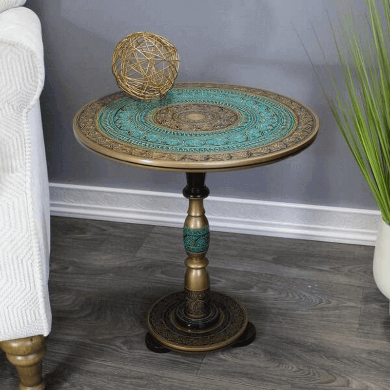 natural-rosewood-round-accent-table-turquoise