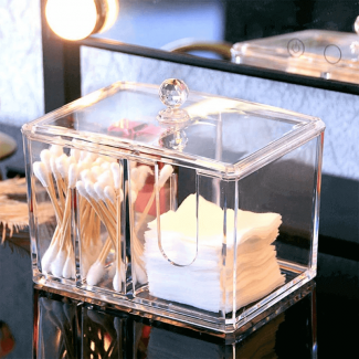 Acrylic Cotton Swab Holder Makeup Box